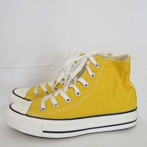 Converse All Star Hi Top 4 Yellow Canvas Sneakers